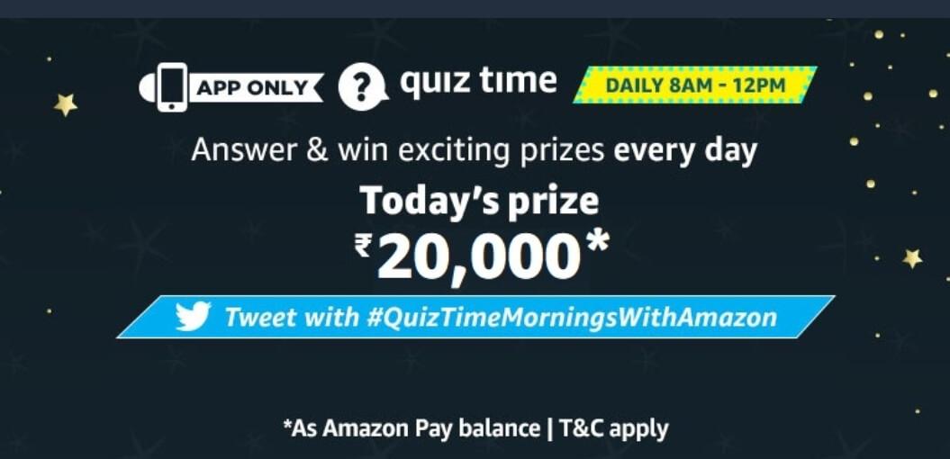 6 January Amazon Quiz Answers – Win ₹20,000 Pay Balance