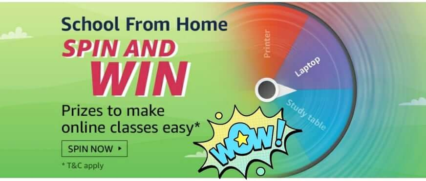 Amazon School From Home Quiz Answers-Spin And Win 1