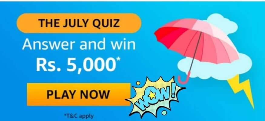 amazon quiz july answer and win
